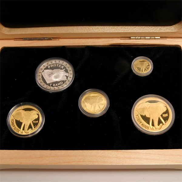 1996 South Africa Natura Gold and Silver Elephant Proof Set