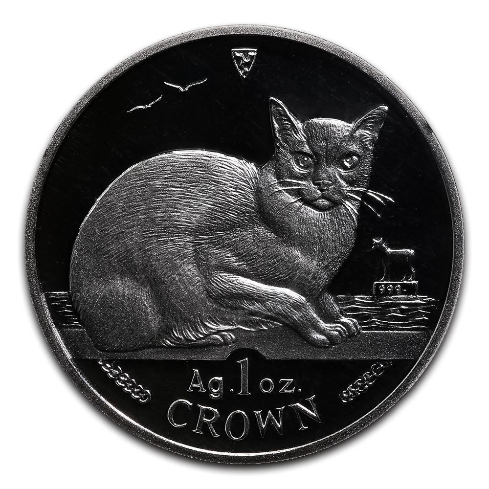 Isle of Man 1996 1 Crown Silver Proof Burmese Cat