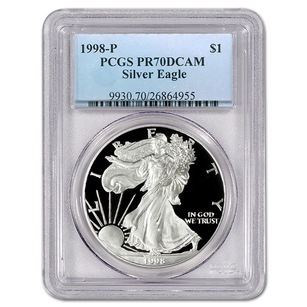 Certified Proof Silver Eagle 1998-P PR70DCAM PCGS