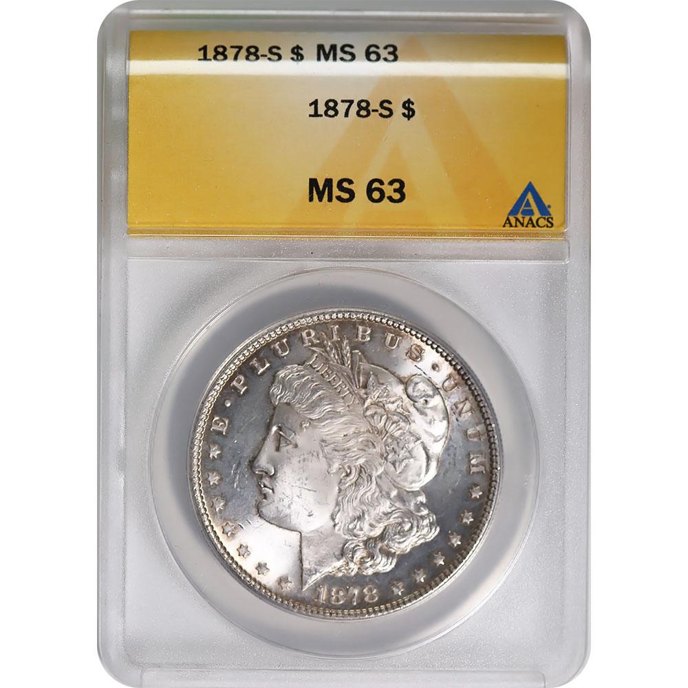 Certified Morgan Silver Dollar 1878-S MS63 ANACS