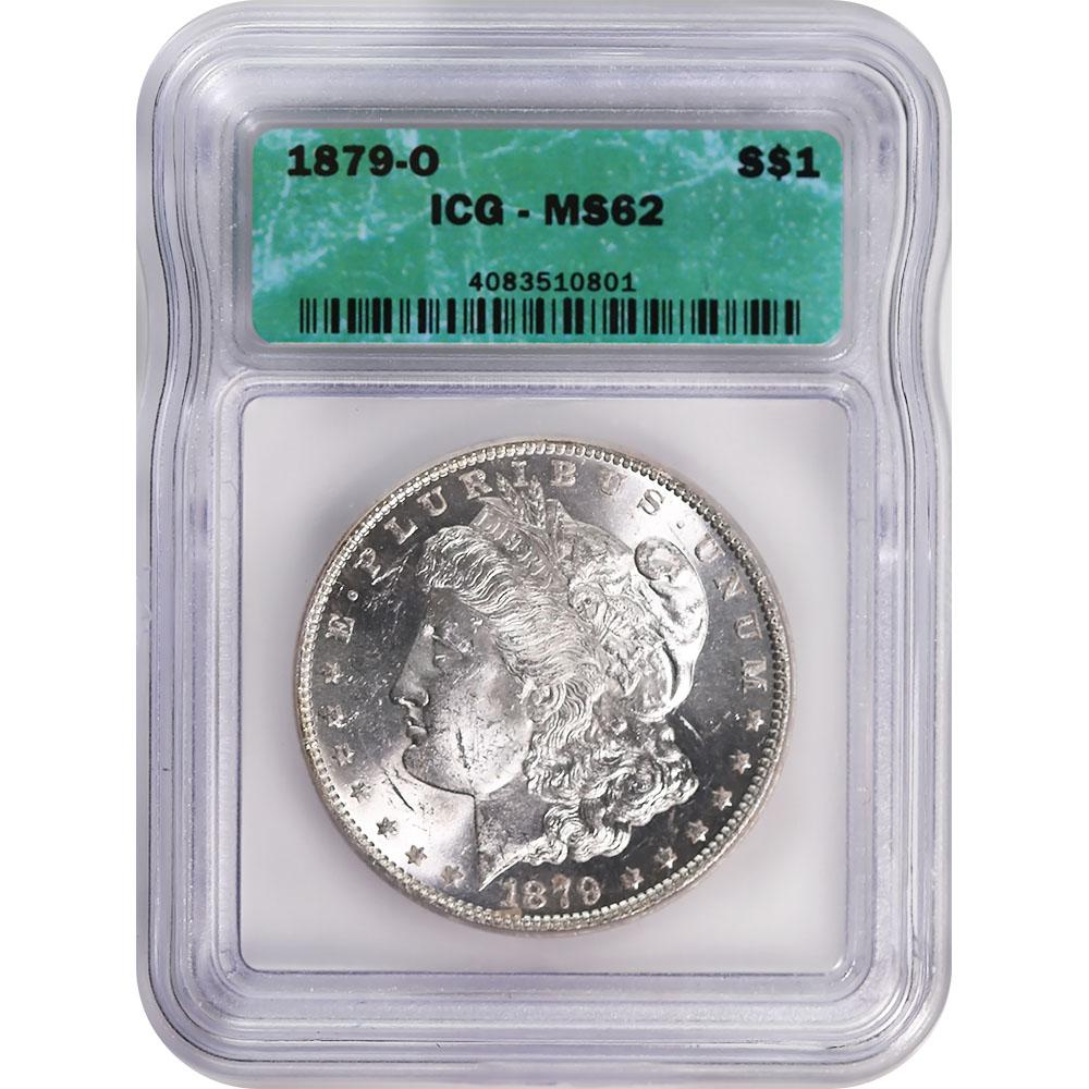 Certified Morgan Silver Dollar 1879-O MS62 ICG