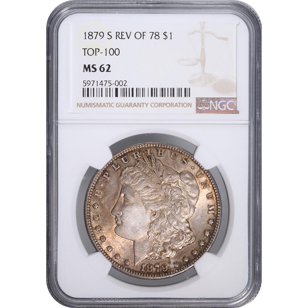 Certified Morgan Silver Dollar 1879-S Rev 78 MS62 NGC toned