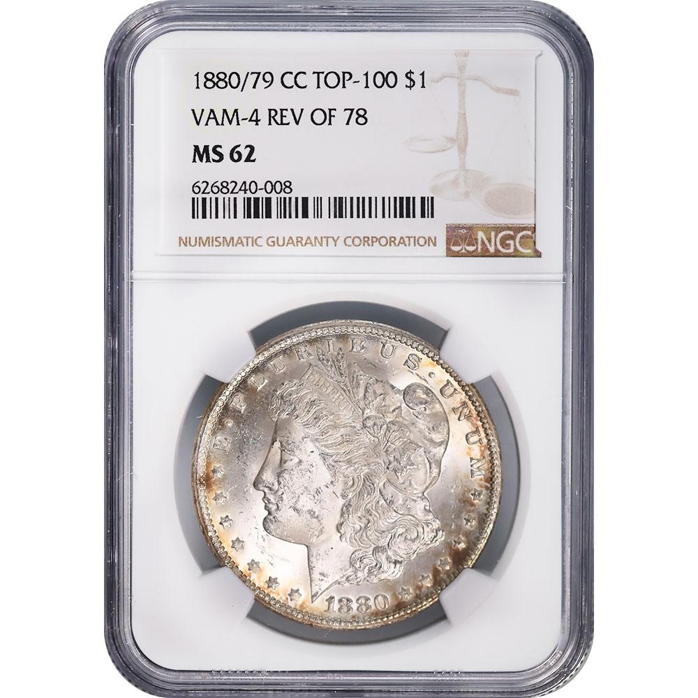Certified Morgan Silver Dollar 1880/79-CC Rev. of 79 VAM-4 MS62 NGC
