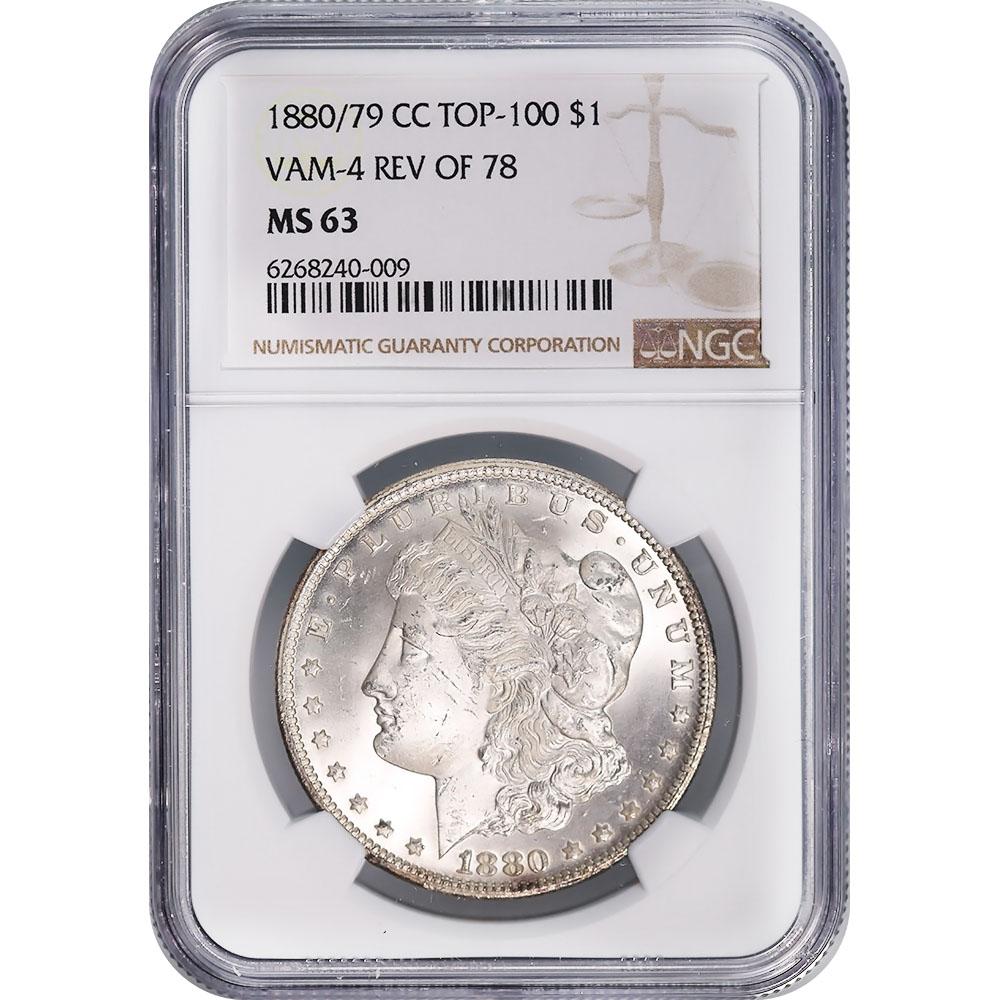Certified Morgan Silver Dollar 1880/79-CC Rev. of 79 VAM-4 MS63 NGC