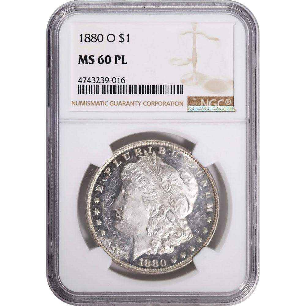 Certified Morgan Silver Dollar 1880-O MS60 PL NGC