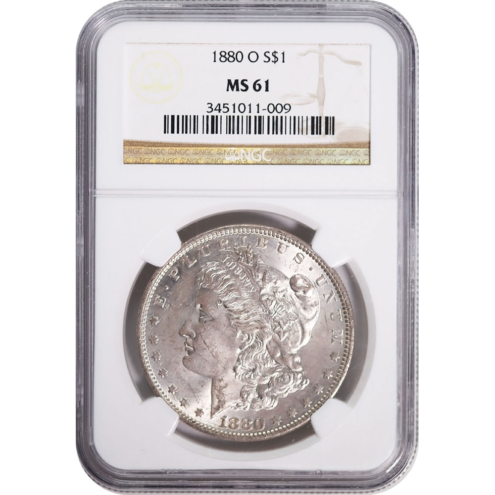 Certified Morgan Silver Dollar 1880-O MS61 NGC