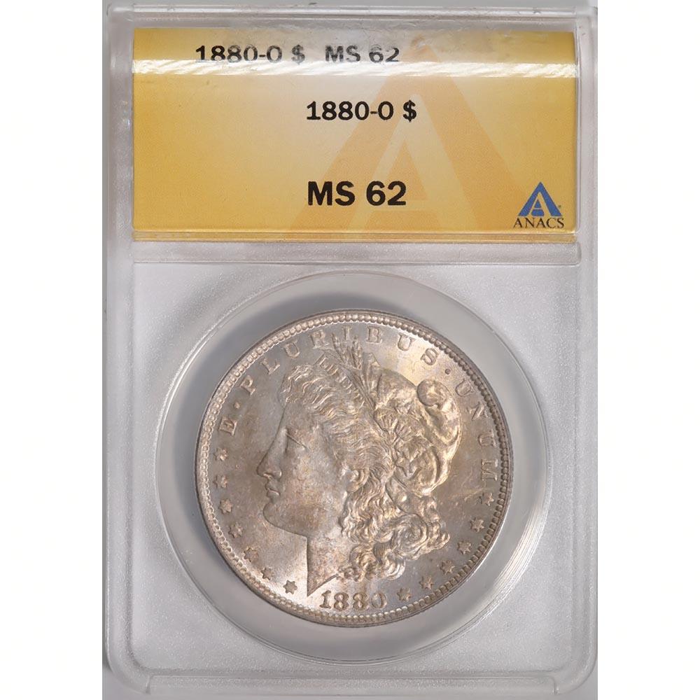 Certified Morgan Silver Dollar 1880-O MS62 ANACS