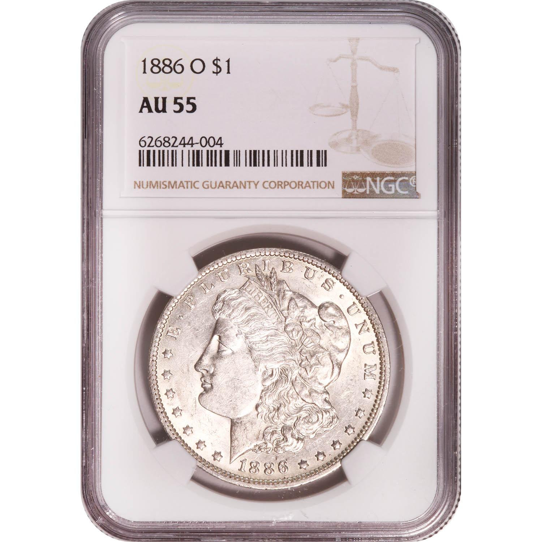 Certified Morgan Silver Dollar 1886-O AU55 NGC