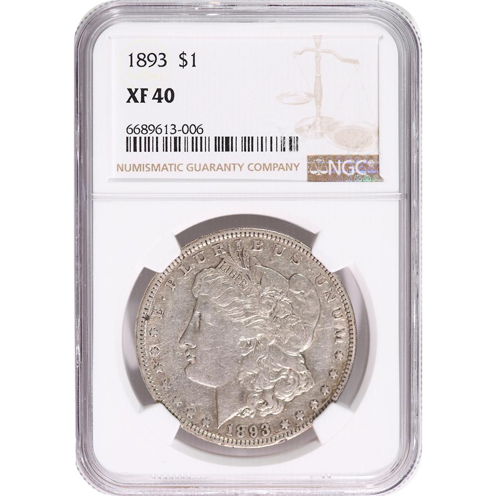 Certified Morgan Silver Dollar 1893 XF40 NGC
