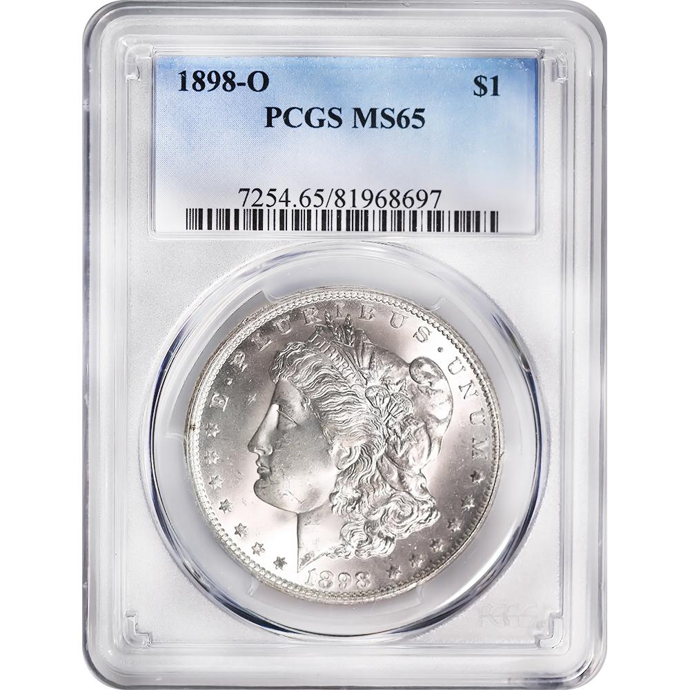 Certified Morgan Silver Dollar 1898-O MS65 PCGS