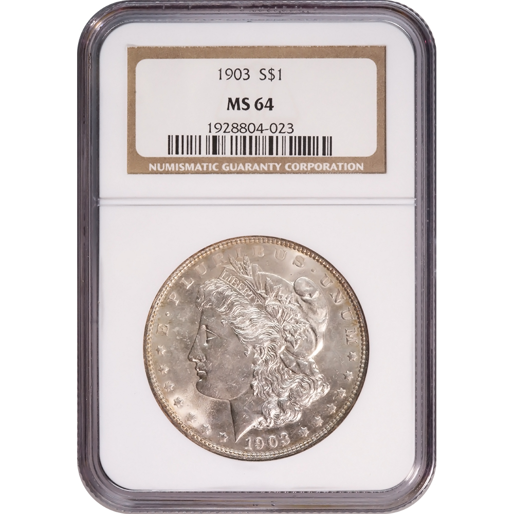 Certified Morgan Silver Dollar 1903 MS64 NGC