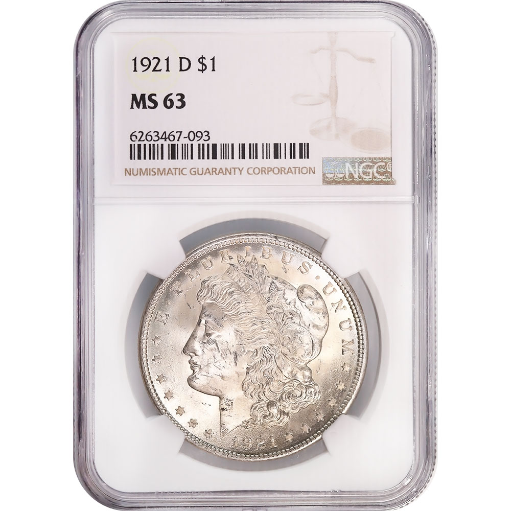 Certified Morgan Silver Dollar 1921-D MS63 NGC