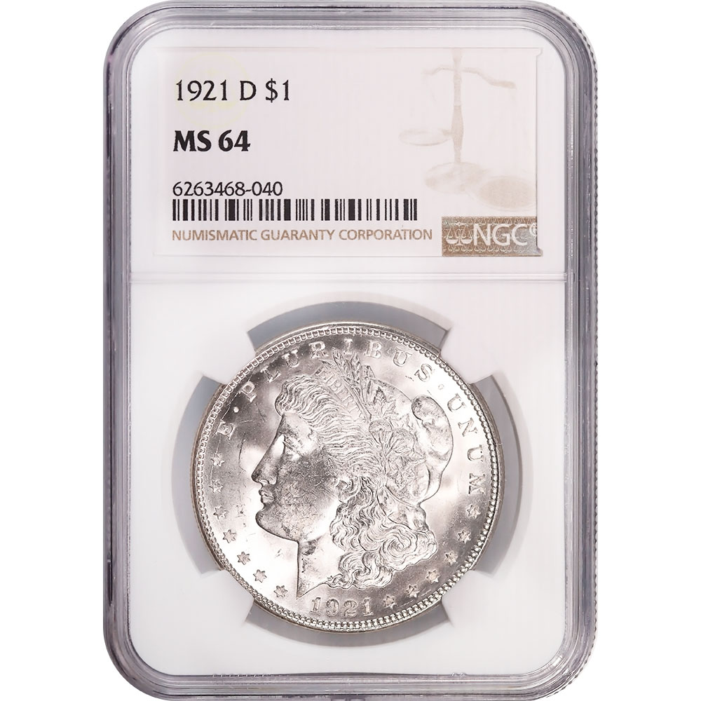 Certified Morgan Silver Dollar 1921-D MS64 NGC