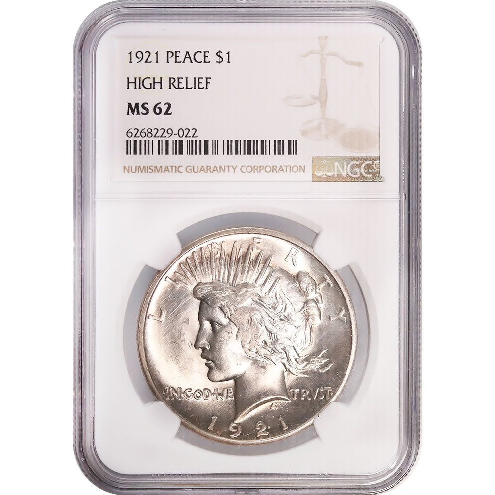 Certified Peace Silver Dollar 1921 MS62 NGC