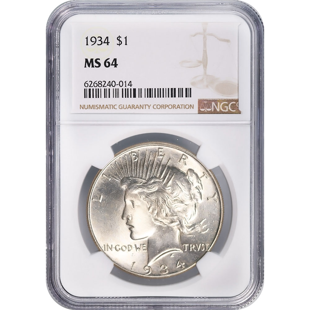 Certified Peace Silver Dollar 1934 MS64 NGC