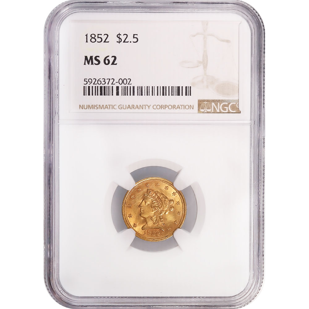 Certified $2.5 Gold Liberty 1852 MS62 NGC