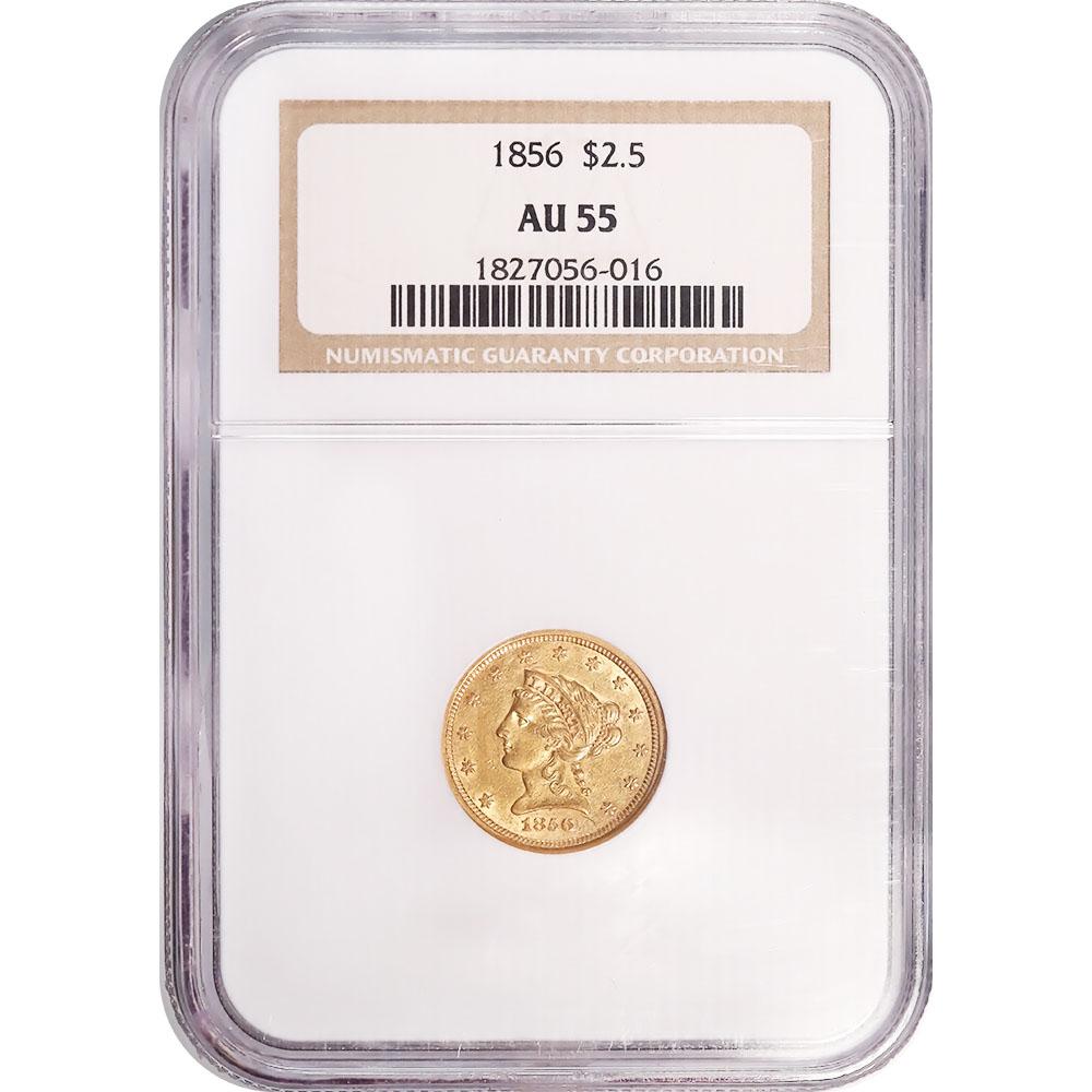 Certified $2.5 Gold Liberty 1856 AU55 NGC