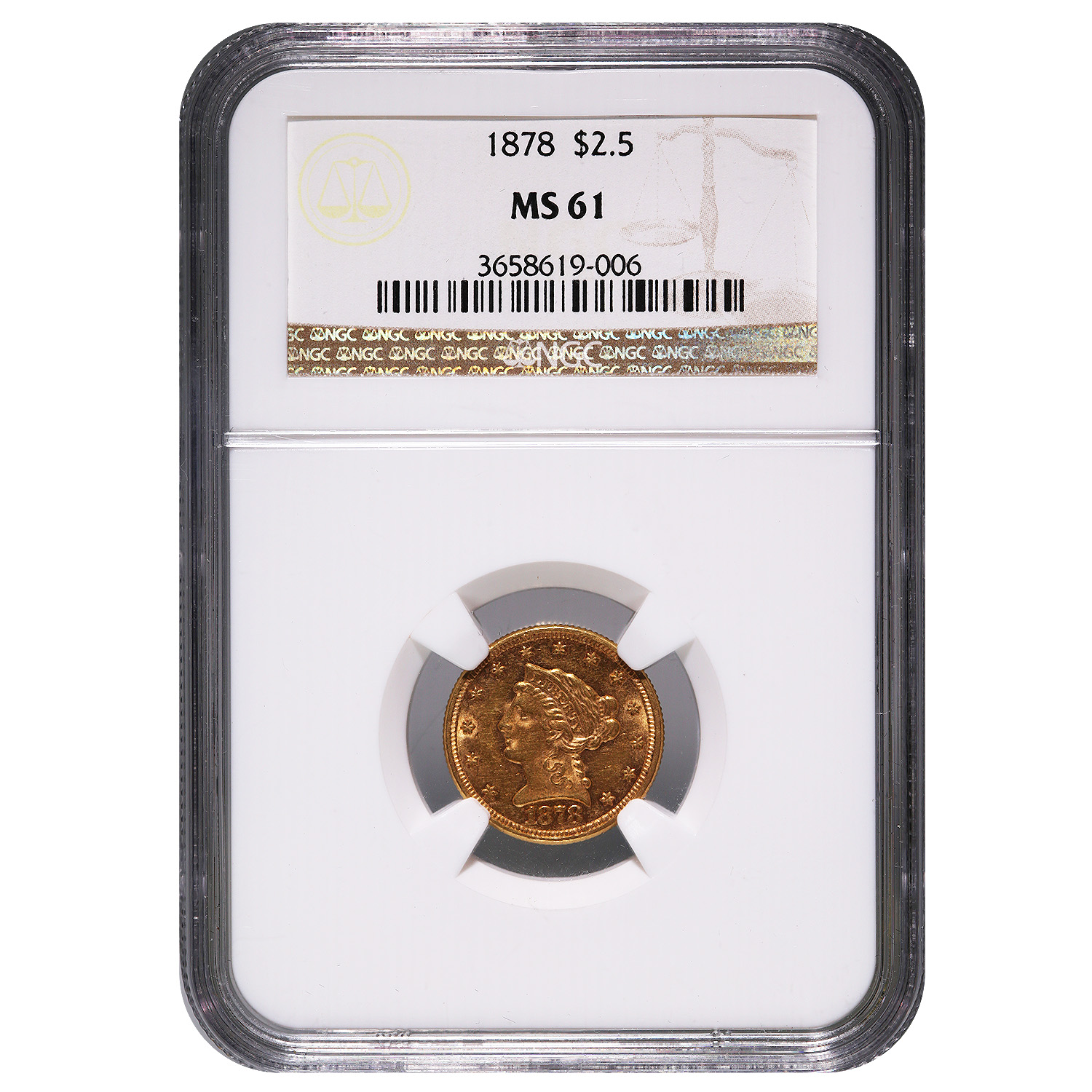 Certified $2.5 Gold Liberty 1878 MS61 NGC