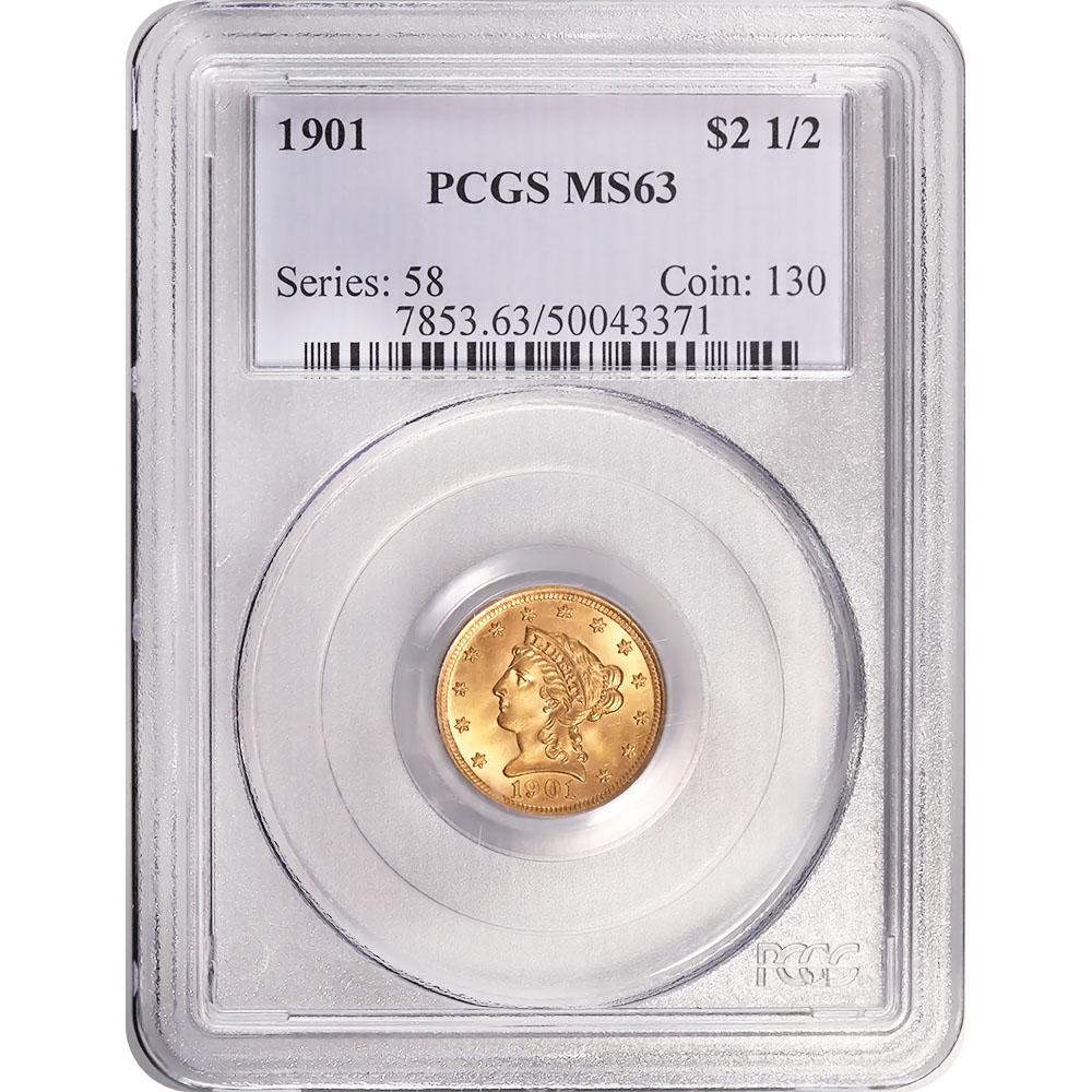 Certified $2.5 Gold Liberty 1901 MS63 PCGS