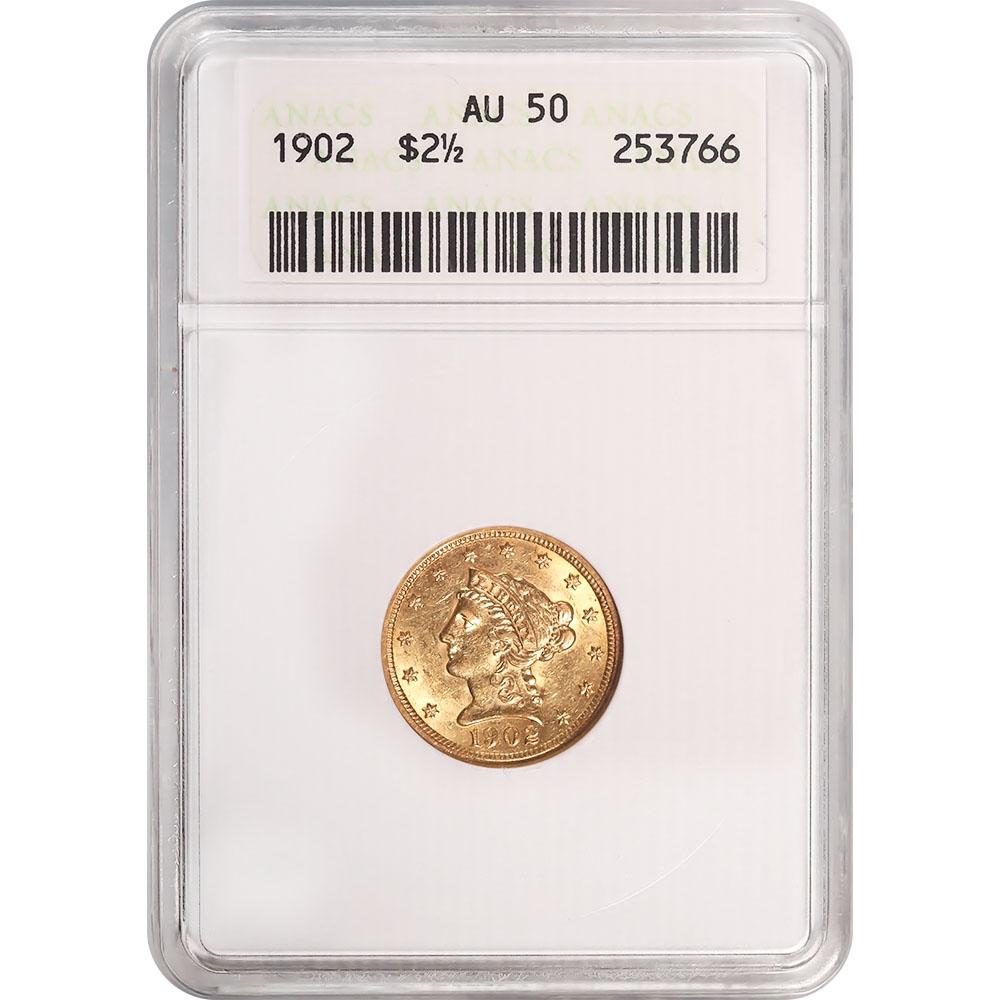 Certified $2.5 Gold Liberty 1902 AU50 ANACS