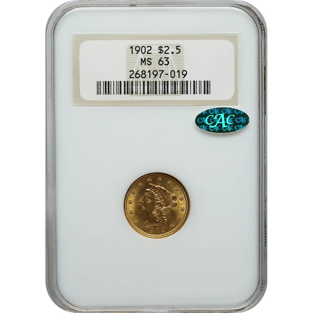 Certified $2.5 Gold Liberty 1902 MS63 NGC CAC