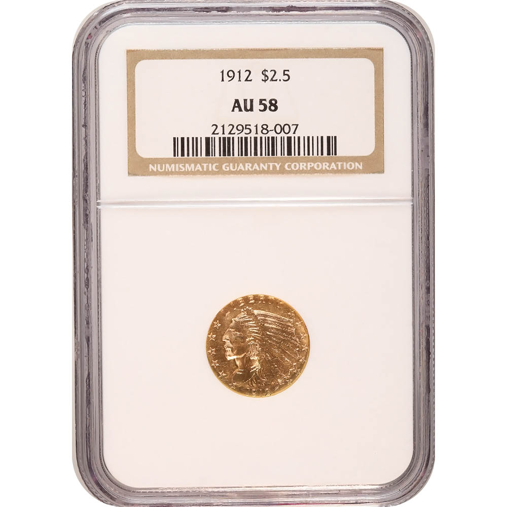 Certified US Gold $2.5 Indian 1912 AU58 NGC