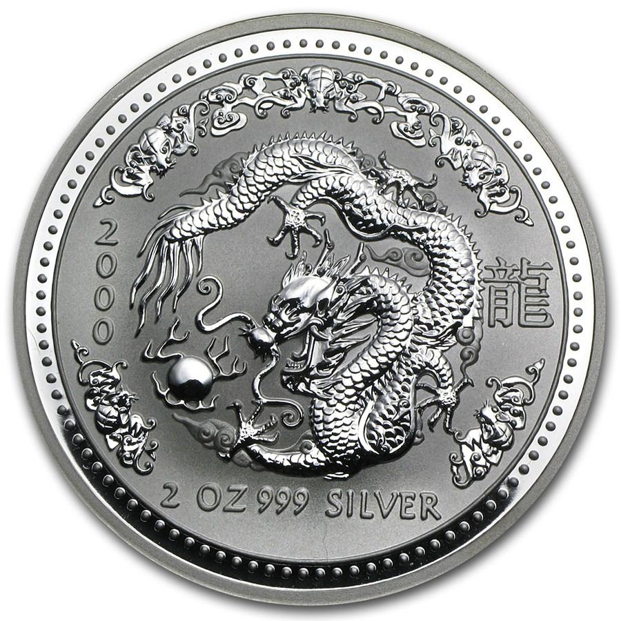 2000 Australia 2 oz Silver Lunar Dragon