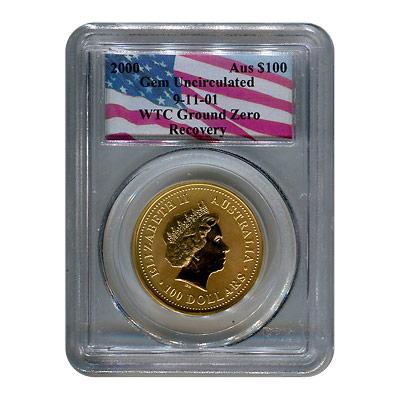 Certified Australian $100 Gold Nugget 2000 Gem Unc PCGS WTC Ground Zero Recovery