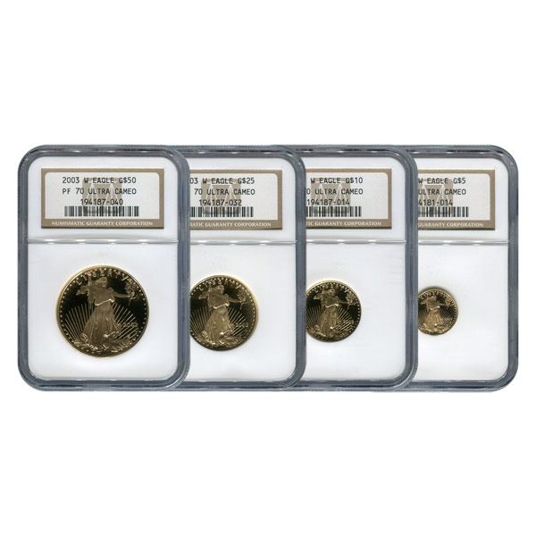 Certified Proof American Gold Eagle 4pc Set 2003-W PF70 NGC