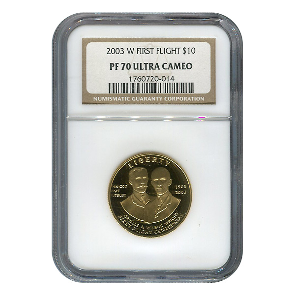 Gold $10 Commemorative 2003-W Proof First in Flight PF70 NGC