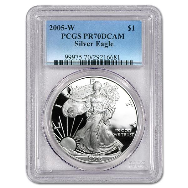 Certified Proof Silver Eagle 2005-W PR70DCAM PCGS