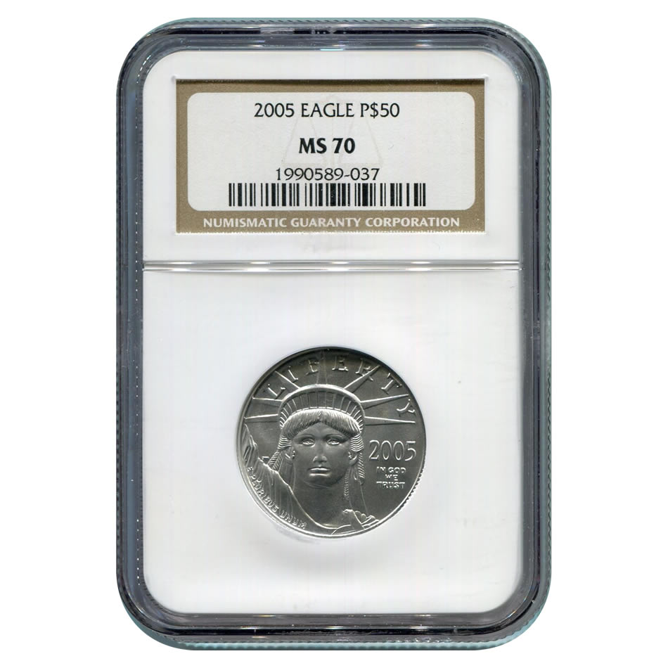 Certified Platinum American Eagle 2005 $50 Half Ounce MS70 NGC
