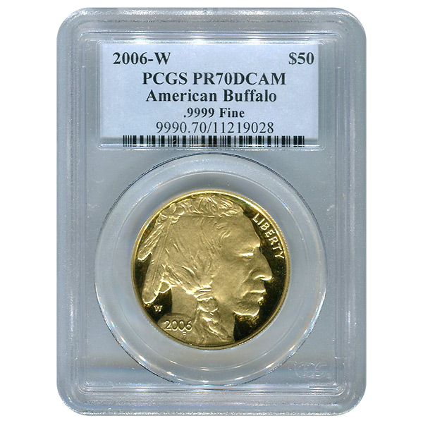 Certified Proof Buffalo Gold Coin 2006-W One Ounce PR70DCAM PCGS
