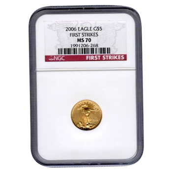 Certified American $5 Gold Eagle 2006 MS70 First Strike NGC