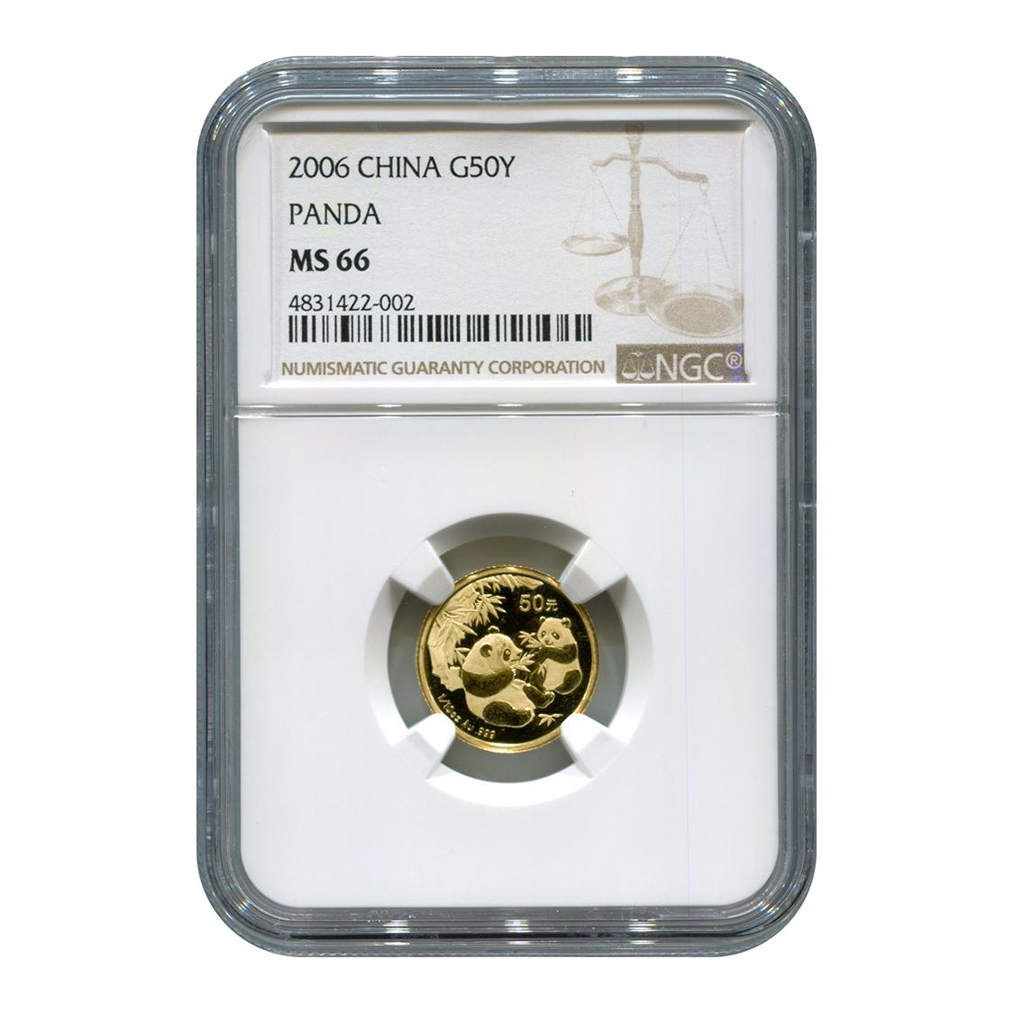 Certified Tenth Ounce Chinese Gold Panda 2006 50 Yuan MS66 NGC