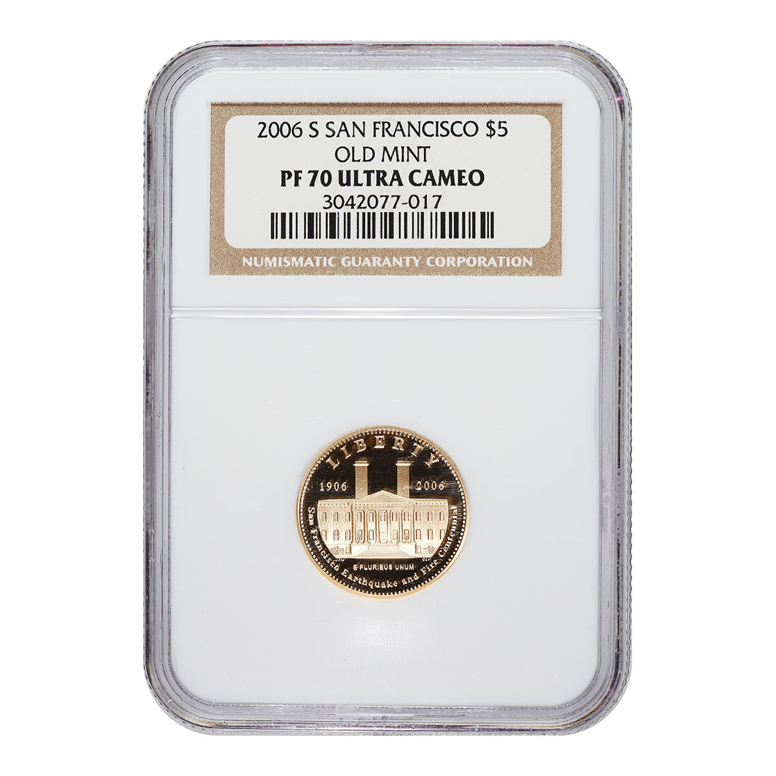 Certified Commemorative $5 Gold 2006-S Old Mint PF70 NGC