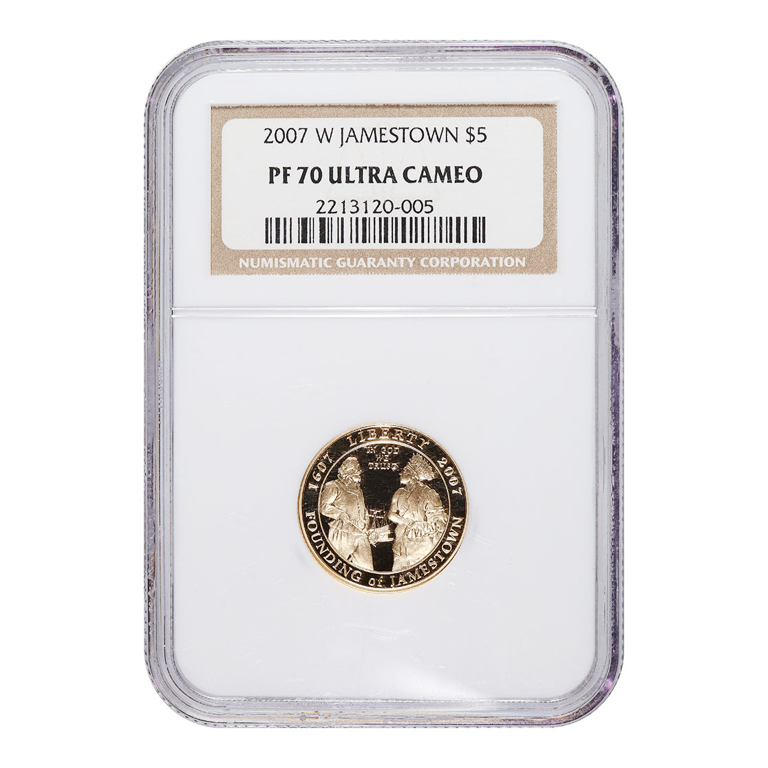 Certified Commemorative $5 Gold 2007-W Jamestown PF70 NGC
