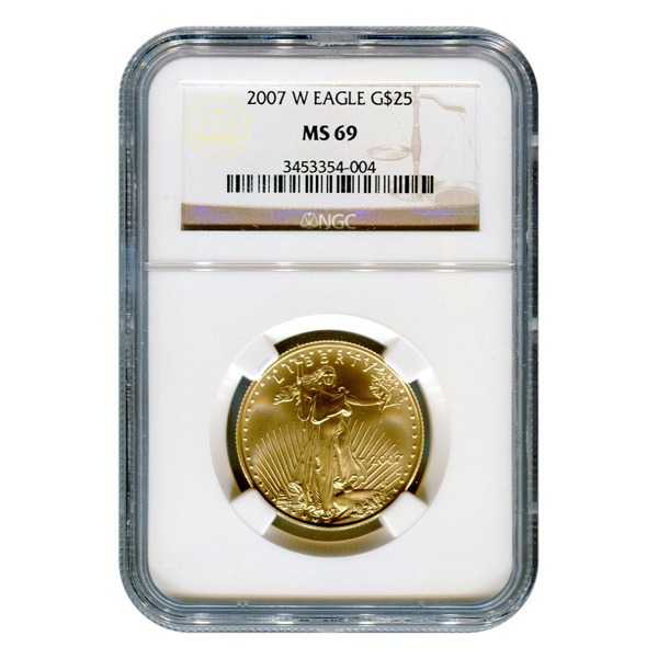 Certified Burnished American $25 Gold Eagle 2007-W MS69 NGC