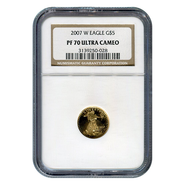 Certified Proof American Gold Eagle $5 2007 PF70 NGC