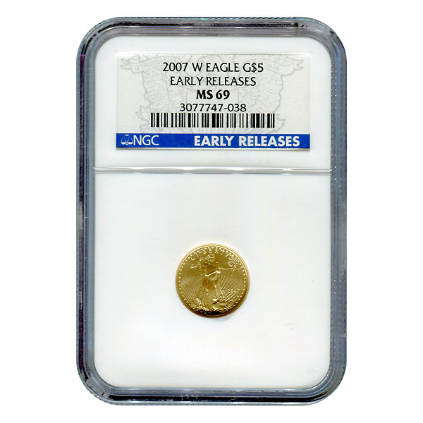 Burnished 2007-W $5 Gold Eagle MS69 NGC Early Release