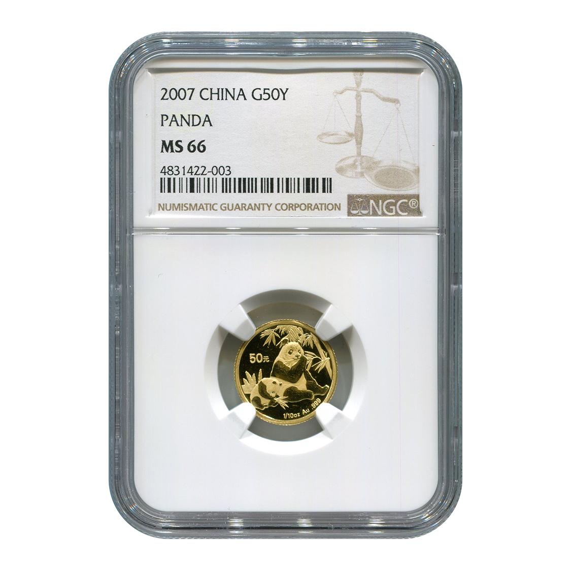 Certified Tenth Ounce Chinese Gold Panda 2007 50 Yuan MS66 NGC