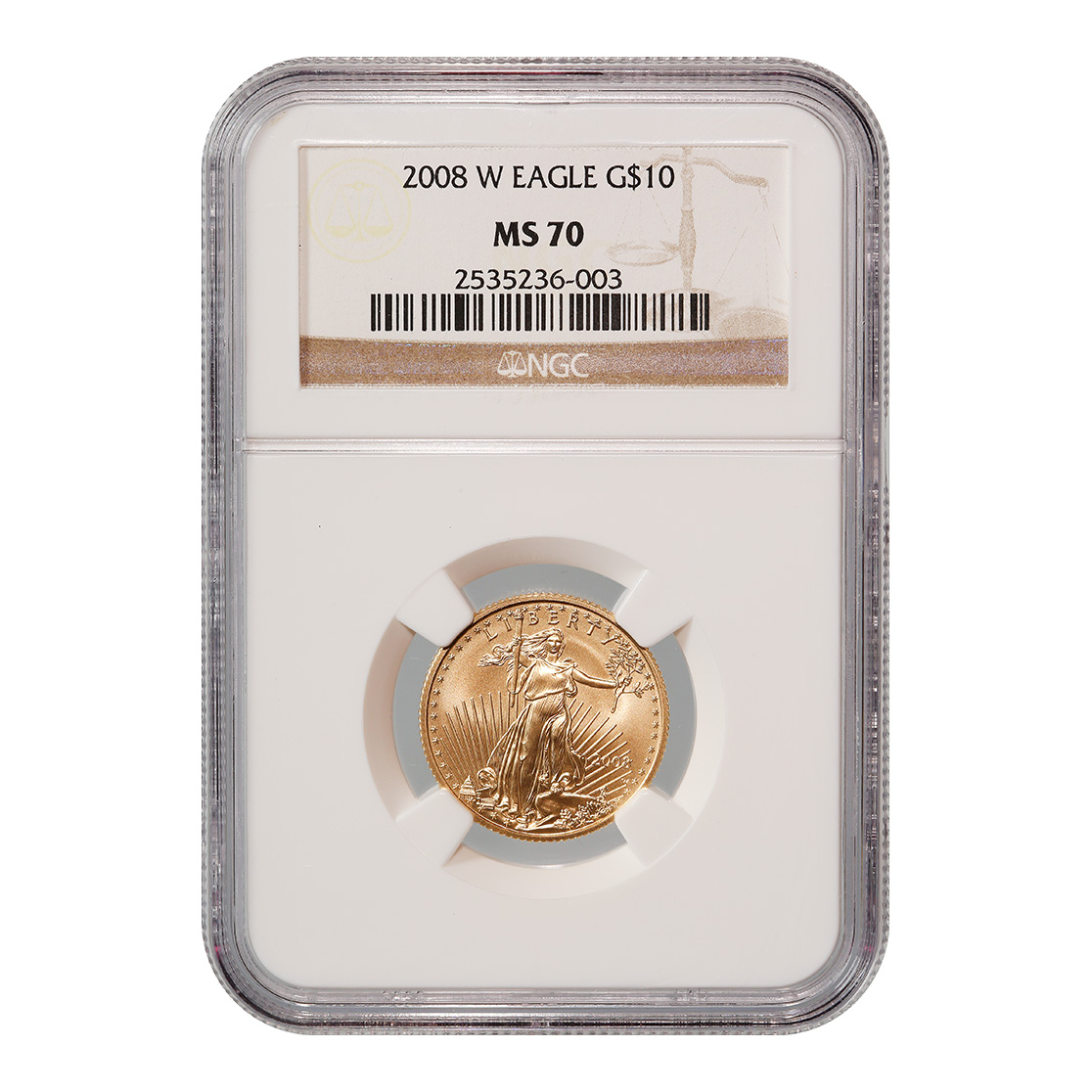 Certified American $10 Gold Eagle 2008-W MS70 NGC