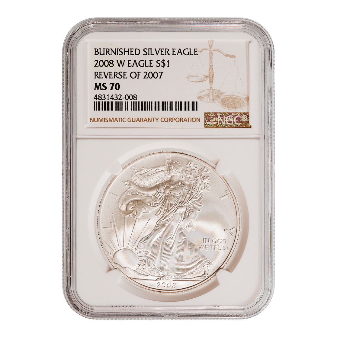 Burnished 2008-W Silver Eagle MS70 NGC Reverse Of 07