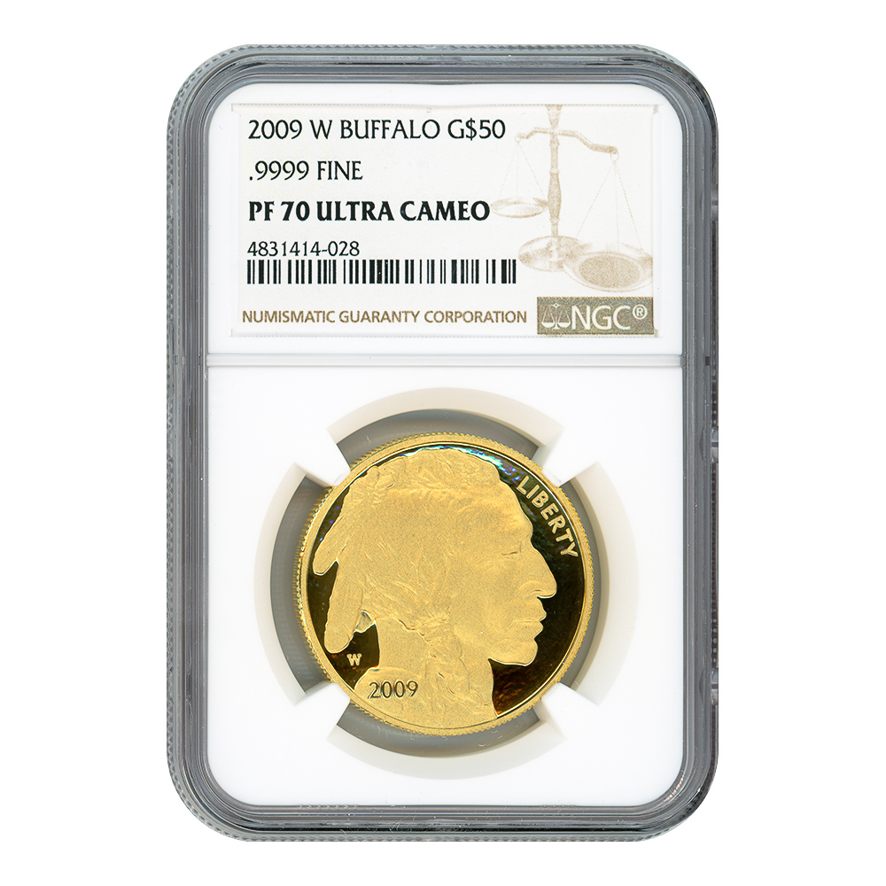 Certified Proof Buffalo Gold Coin 2009-W One Ounce PF70 Ultra Cameo NGC