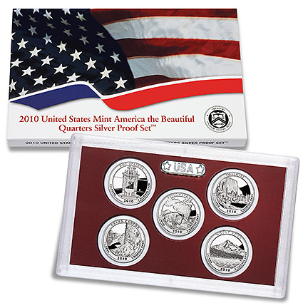 US Proof Set 2010 5pc Silver (Quarters Only) America The Beautiful
