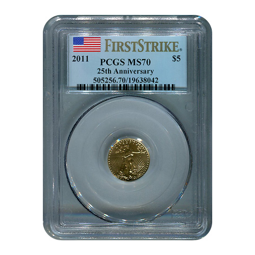 Certified American $5 Gold Eagle 2011 MS70 PCGS First Strike 25th Anniversary