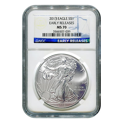 Certified Uncirculated Silver Eagle 2013 MS70 NGC Early Release