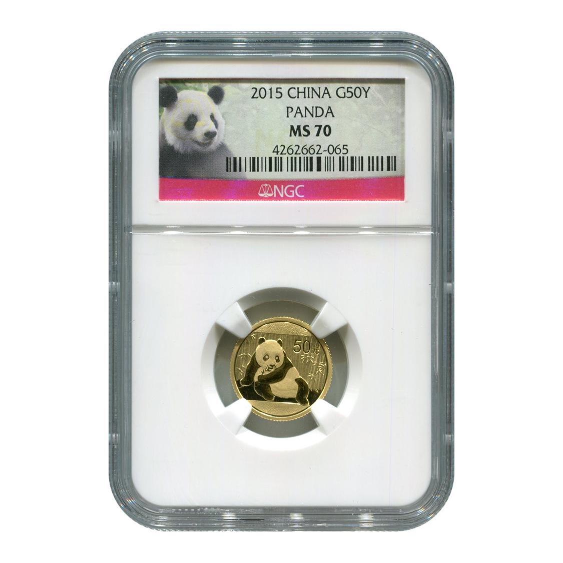 Certified Tenth Ounce Chinese Gold Panda 2015 50 Yuan MS70 NGC