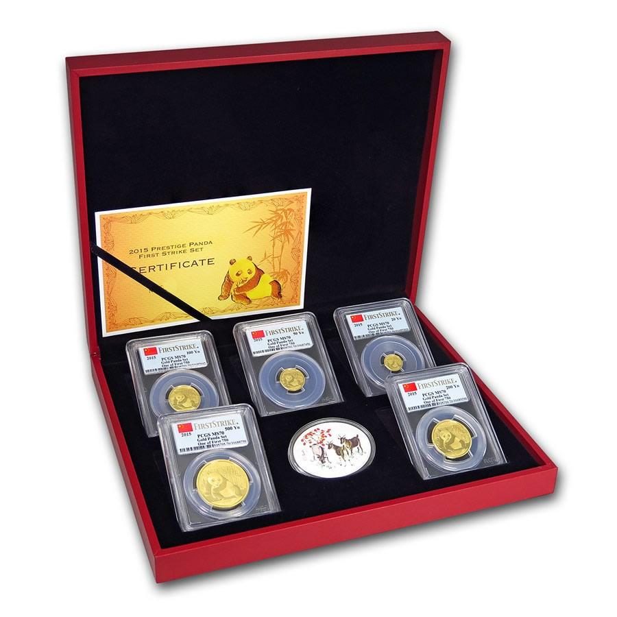 2015 China 5-Coin Gold Panda Prestige Set MS-70 PCGS First Strike