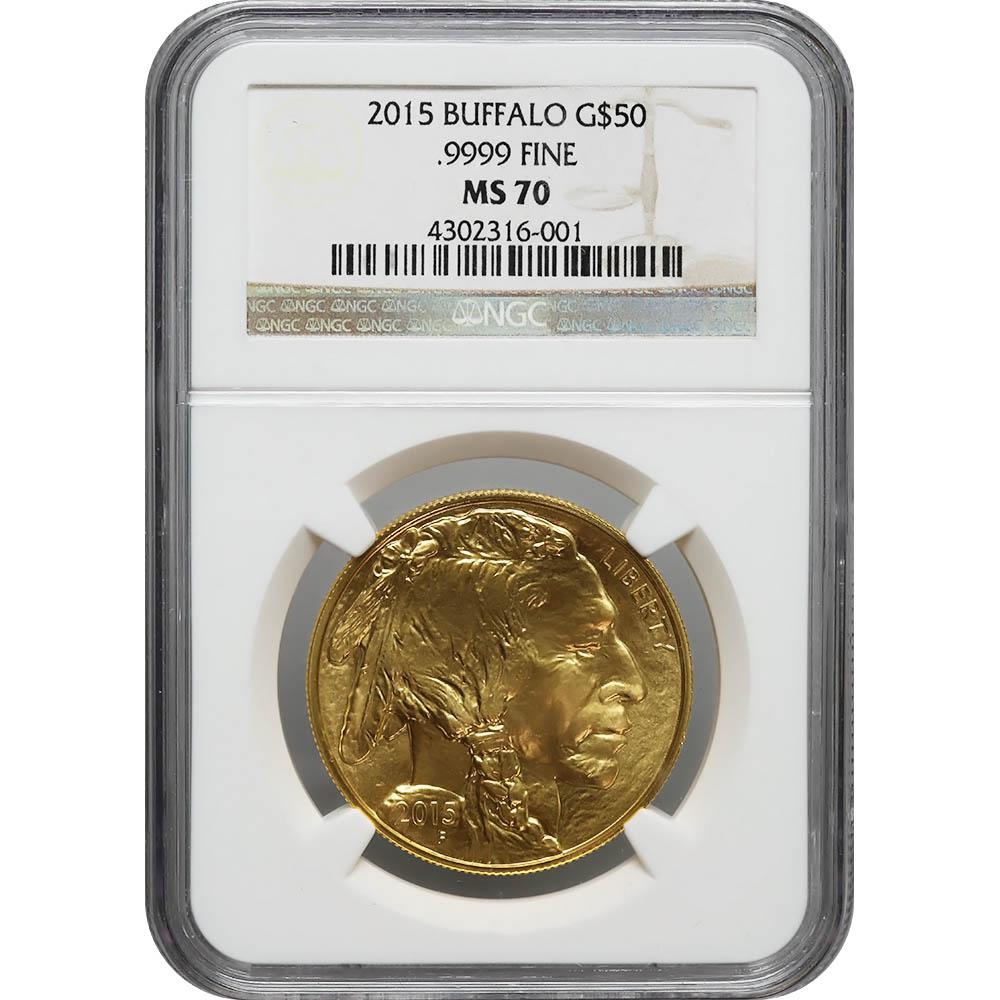 Certified Uncirculated Gold Buffalo 2015 MS70 NGC